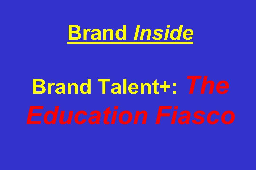 Brand Inside Brand Talent+: The Education Fiasco