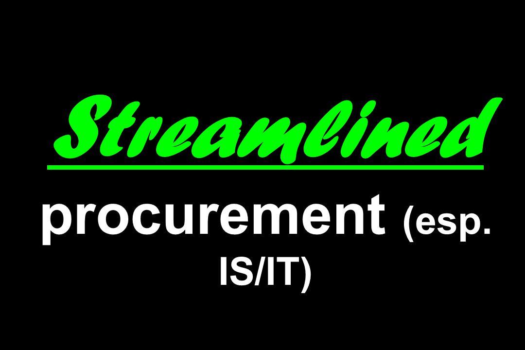 S treamlined procurement (esp. IS/IT)