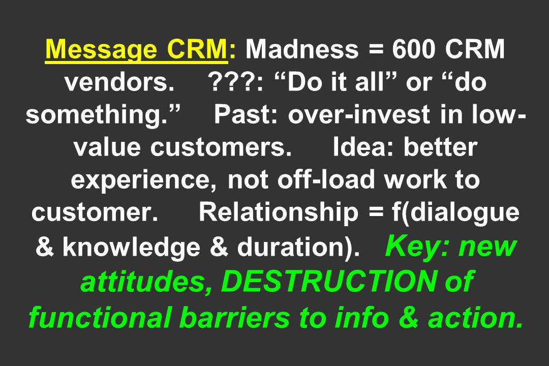 Message CRM: Madness = 600 CRM vendors.