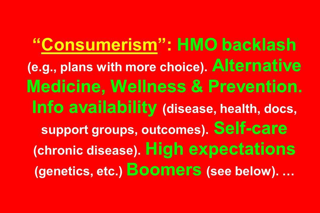 Consumerism : HMO backlash (e.g., plans with more choice).