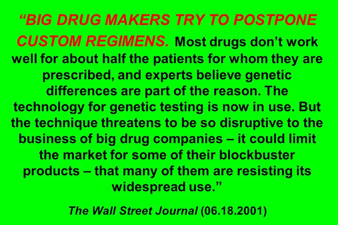 BIG DRUG MAKERS TRY TO POSTPONE CUSTOM REGIMENS.