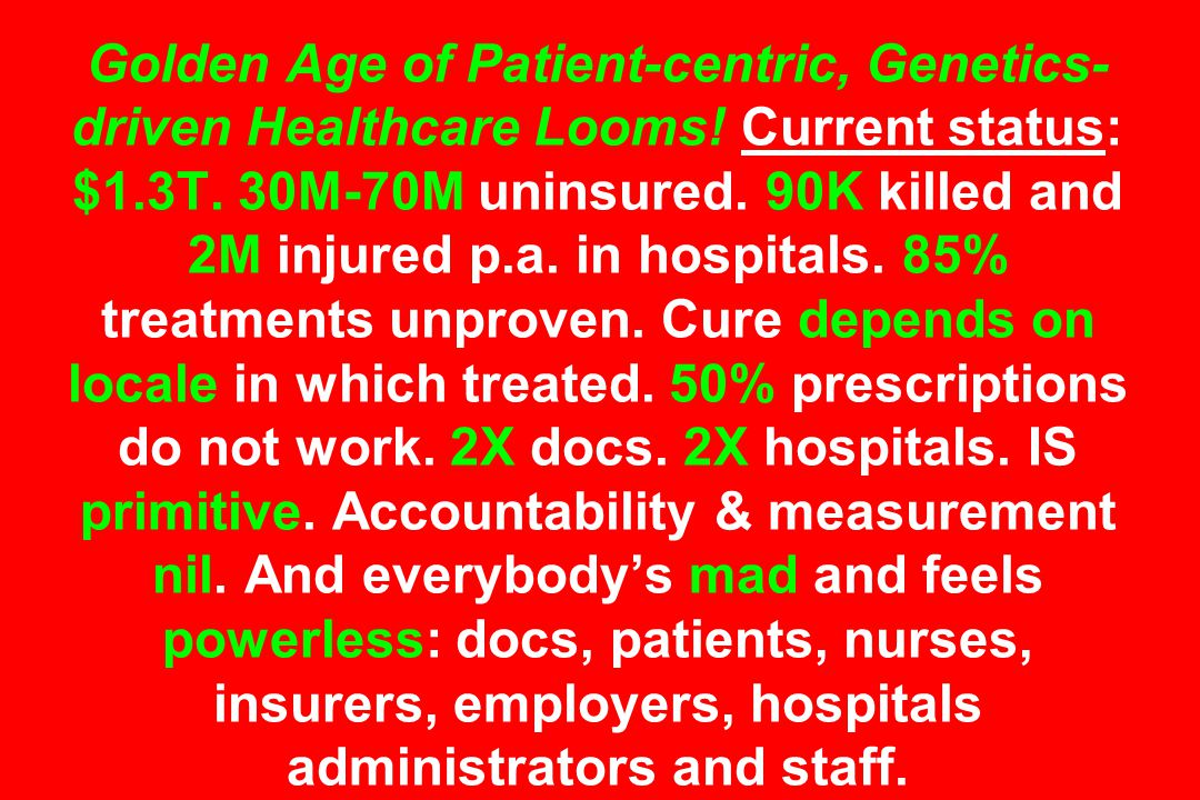 Golden Age of Patient-centric, Genetics- driven Healthcare Looms.