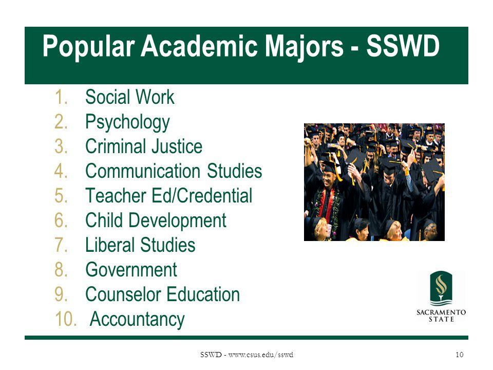 Popular Academic Majors - SSWD 1.Social Work 2.Psychology 3.Criminal Justice 4.Communication Studies 5.Teacher Ed/Credential 6.Child Development 7.Liberal Studies 8.Government 9.Counselor Education 10.