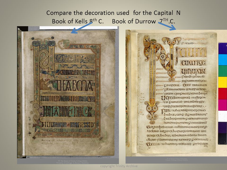 Compare the decoration used for the Capital N Book of Kells 8 th C. Book of Durrow 7 TH.C. copyright Trinity Archive