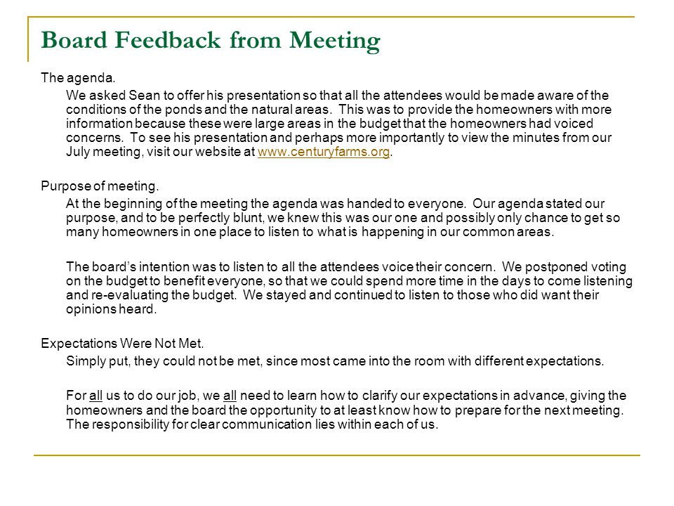 Board Feedback from Meeting The agenda.