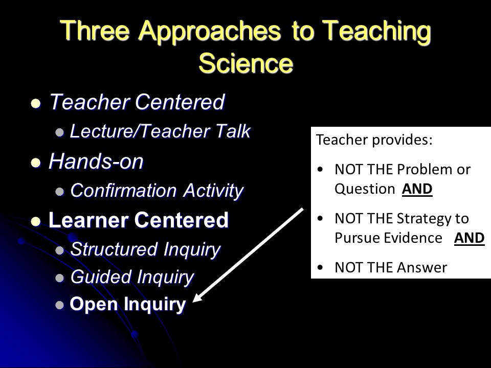 Three Approaches to Teaching Science Teacher Centered Teacher Centered Lecture/Teacher Talk Lecture/Teacher Talk Hands-on Hands-on Confirmation Activity Confirmation Activity Learner Centered Learner Centered Structured Inquiry Structured Inquiry Guided Inquiry Guided Inquiry Open Inquiry Open Inquiry Teacher provides: NOT THE Problem or Question AND NOT THE Strategy to Pursue Evidence AND NOT THE Answer