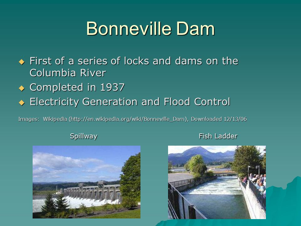 Bonneville Dam  First of a series of locks and dams on the Columbia River  Completed in 1937  Electricity Generation and Flood Control Images: Wikipedia (http://en.wikipedia.org/wiki/Bonneville_Dam), Downloaded 12/13/06 Spillway Fish Ladder Spillway Fish Ladder