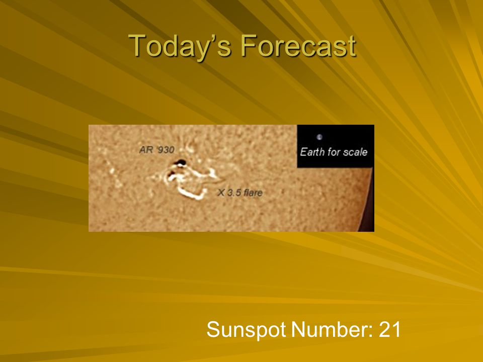 Today's Forecast Sunspot Number: 21