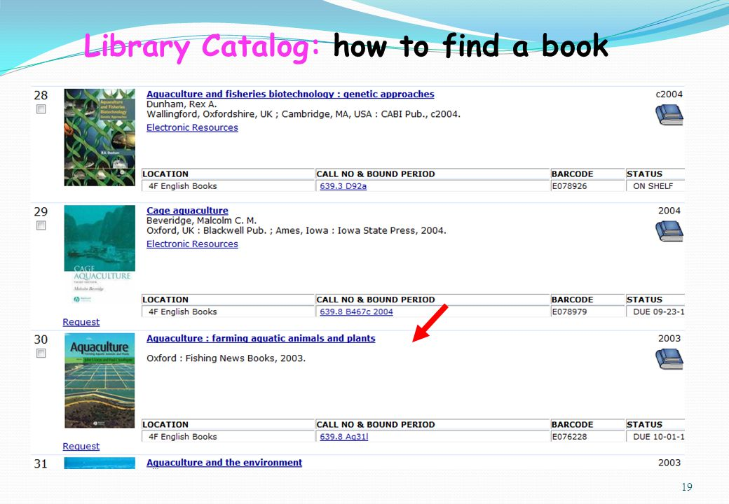 19 Library Catalog: how to find a book