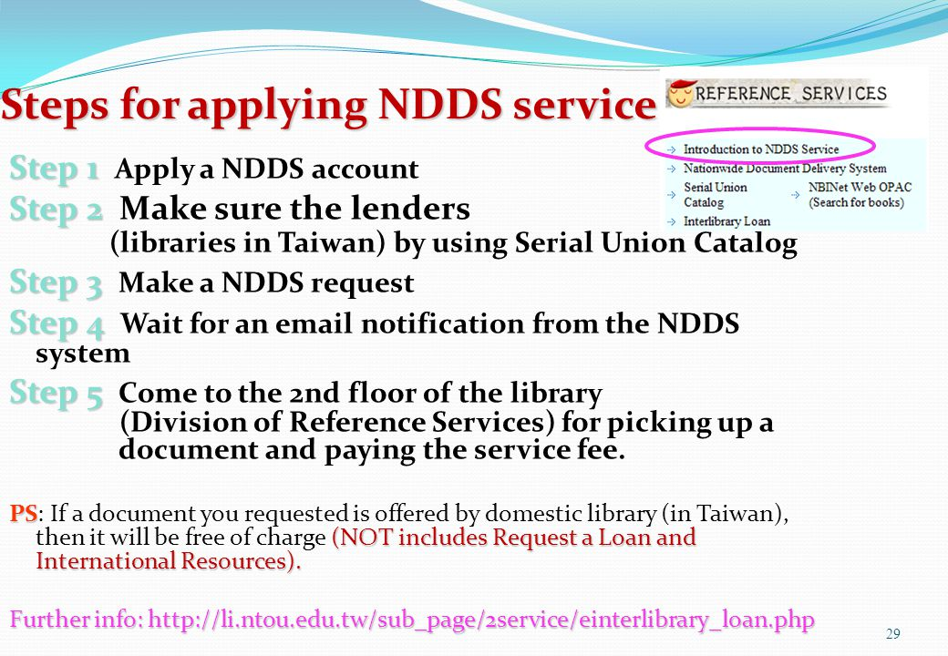 Steps for applying NDDS service Step 1 Step 1 Apply a NDDS account Step 2 Step 2 Make sure the lenders (libraries in Taiwan) by using Serial Union Cat