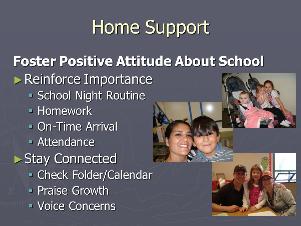 Home Support Foster Positive Attitude About School ► Reinforce Importance  School Night Routine  Homework  On-Time Arrival  Attendance ► Stay Connected  Check Folder/Calendar  Praise Growth  Voice Concerns
