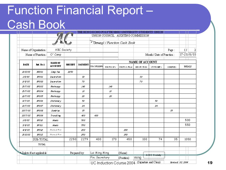 UC Induction Course 200419 Function Financial Report – Cash Book