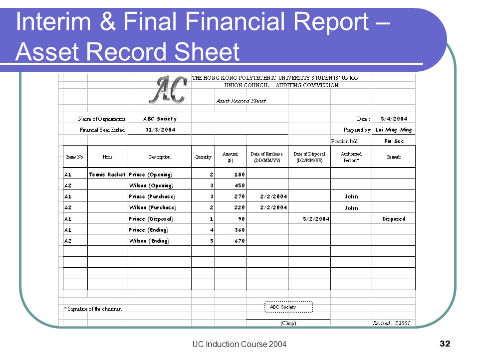 UC Induction Course 200432 Interim & Final Financial Report – Asset Record Sheet