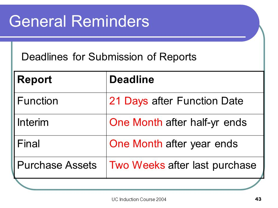 UC Induction Course 200443 General Reminders Deadlines for Submission of Reports ReportDeadline Function21 Days after Function Date InterimOne Month after half-yr ends FinalOne Month after year ends Purchase AssetsTwo Weeks after last purchase