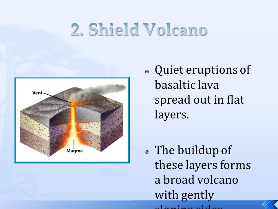  Quiet eruptions of basaltic lava spread out in flat layers.  The buildup of these layers forms a broad volcano with gently sloping sides.