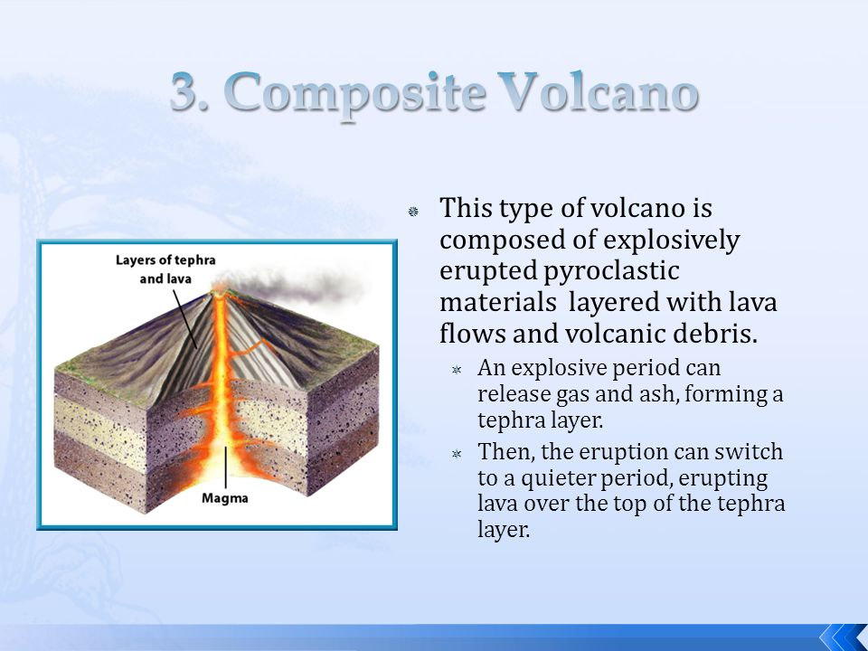  This type of volcano is composed of explosively erupted pyroclastic materials layered with lava flows and volcanic debris.  An explosive period can