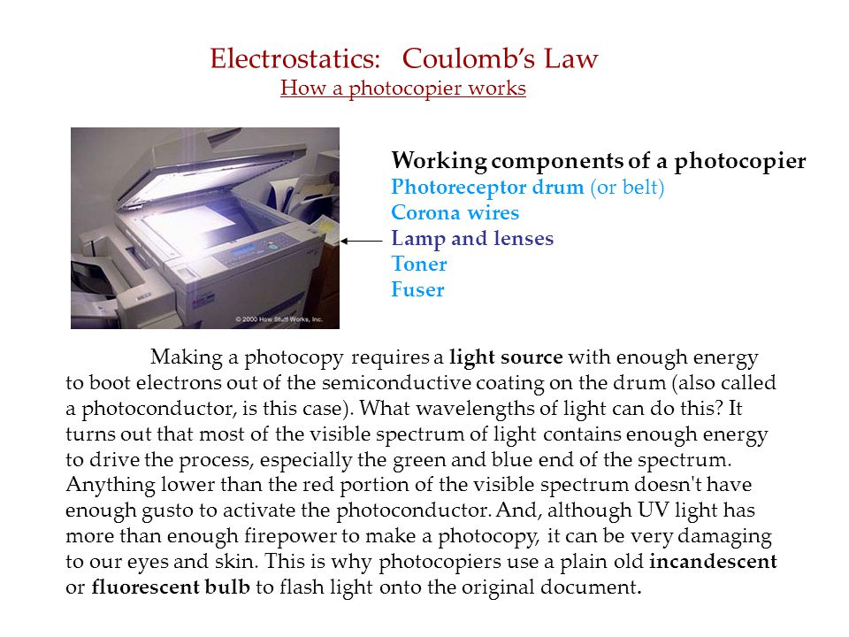 Working components of a photocopier Photoreceptor drum (or belt) Corona wires Lamp and lenses Toner Fuser Electrostatics: Coulomb's Law How a photocopier works Making a photocopy requires a light source with enough energy to boot electrons out of the semiconductive coating on the drum (also called a photoconductor, is this case).
