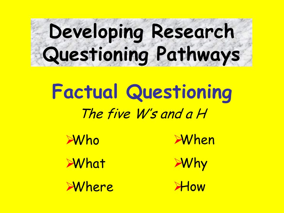 Factual Questioning The five W's and a H Developing Research Questioning Pathways  Who  What  Where  When  Why  How