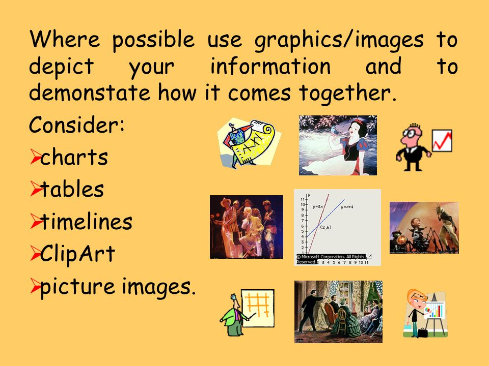 Where possible use graphics/images to depict your information and to demonstate how it comes together.