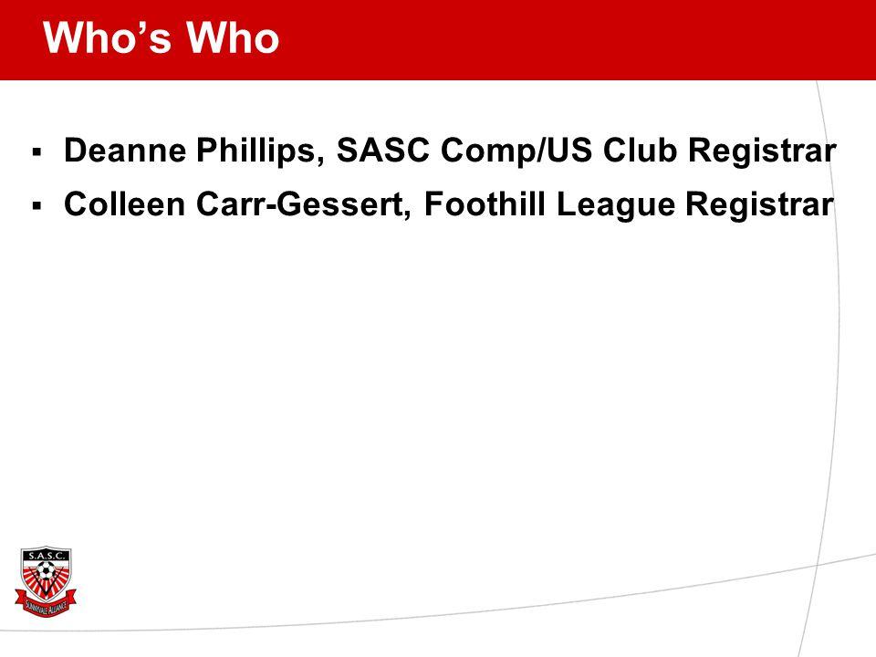Who's Who  Deanne Phillips, SASC Comp/US Club Registrar  Colleen Carr-Gessert, Foothill League Registrar