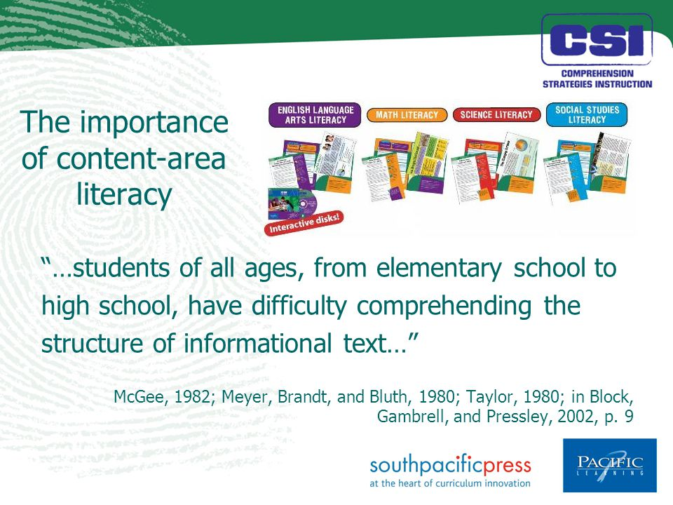 The importance of content-area literacy …students of all ages, from elementary school to high school, have difficulty comprehending the structure of informational text… McGee, 1982; Meyer, Brandt, and Bluth, 1980; Taylor, 1980; in Block, Gambrell, and Pressley, 2002, p.