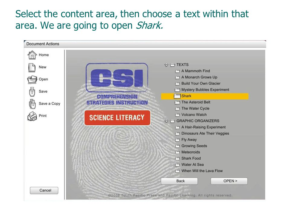 Select the content area, then choose a text within that area. We are going to open Shark.