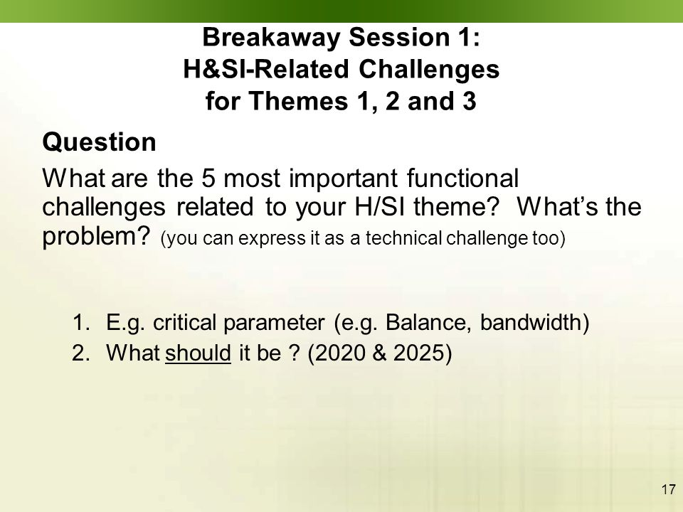 17 Question What are the 5 most important functional challenges related to your H/SI theme? What's the problem? (you can express it as a technical cha