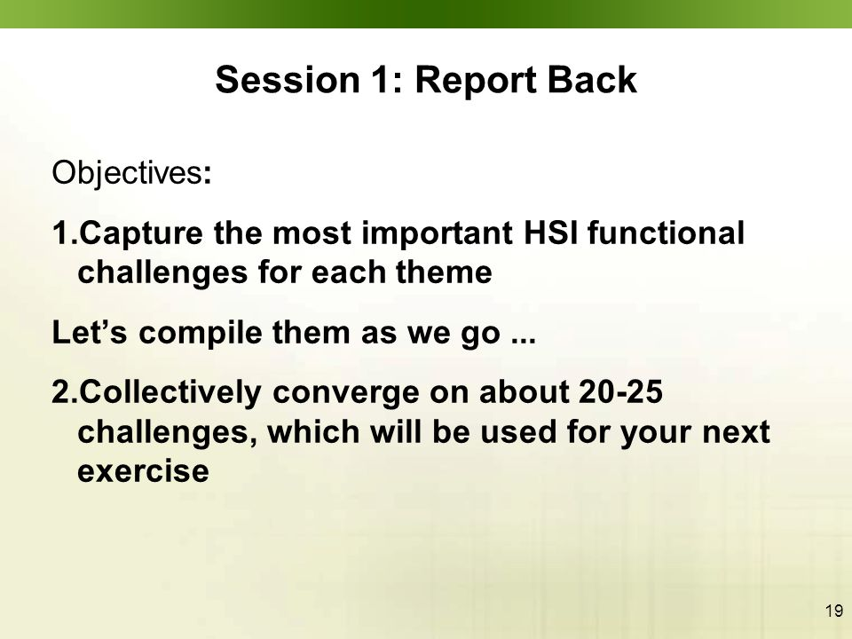19 Session 1: Report Back Objectives: 1.Capture the most important HSI functional challenges for each theme Let's compile them as we go... 2.Collectiv