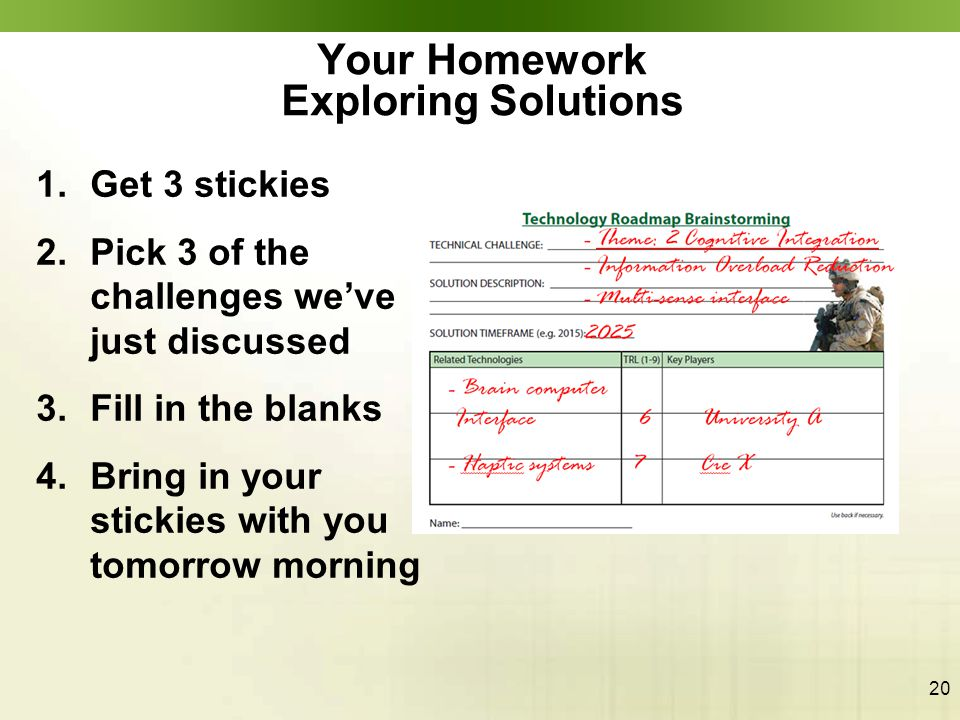 20 Your Homework Exploring Solutions 1.Get 3 stickies 2.Pick 3 of the challenges we've just discussed 3.Fill in the blanks 4.Bring in your stickies wi
