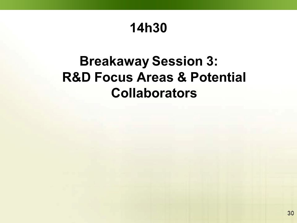 30 14h30 Breakaway Session 3: R&D Focus Areas & Potential Collaborators