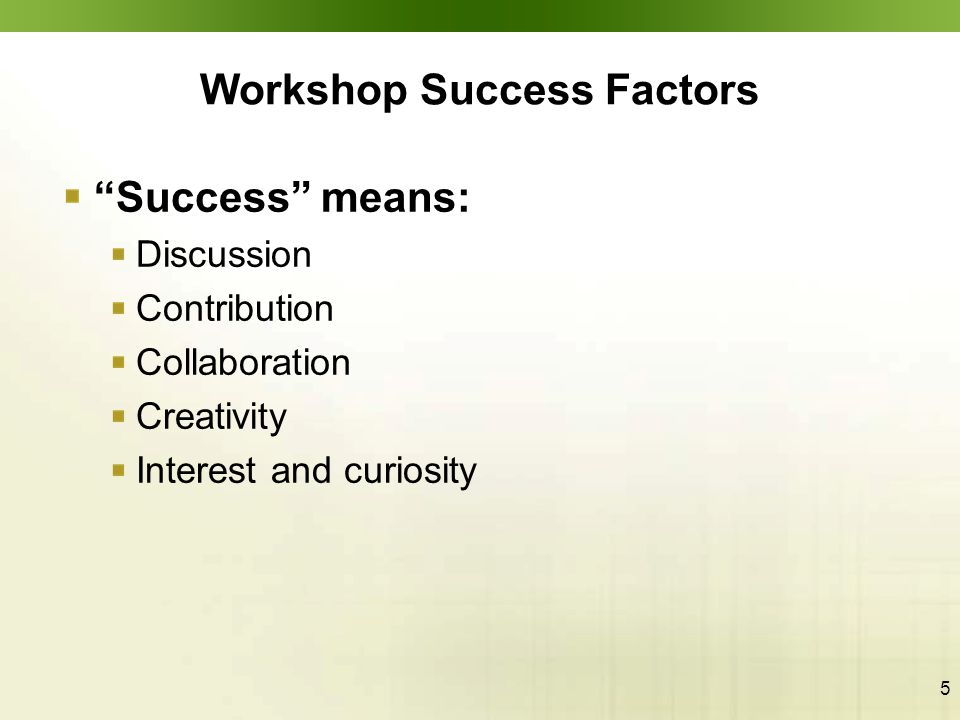 "5 Workshop Success Factors ""Success"" means: Discussion Contribution Collaboration Creativity Interest and curiosity"