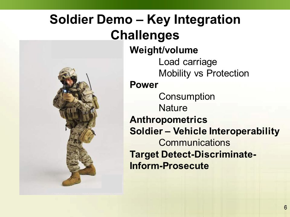 6 Soldier Demo – Key Integration Challenges Weight/volume Load carriage Mobility vs Protection Power Consumption Nature Anthropometrics Soldier – Vehi