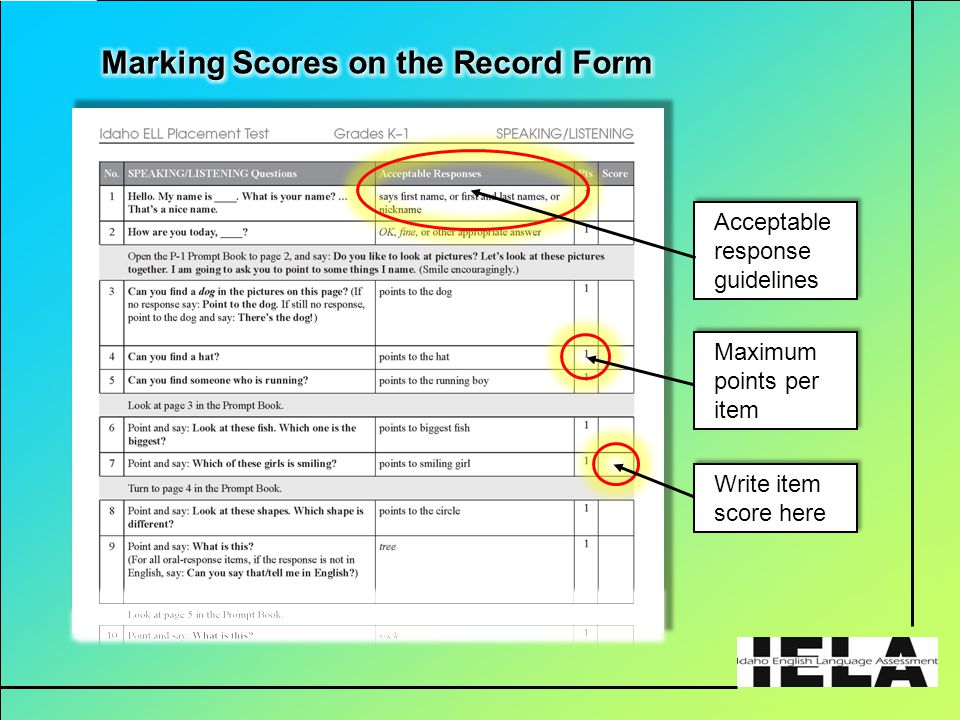 Write item score here Maximum points per item Acceptable response guidelines