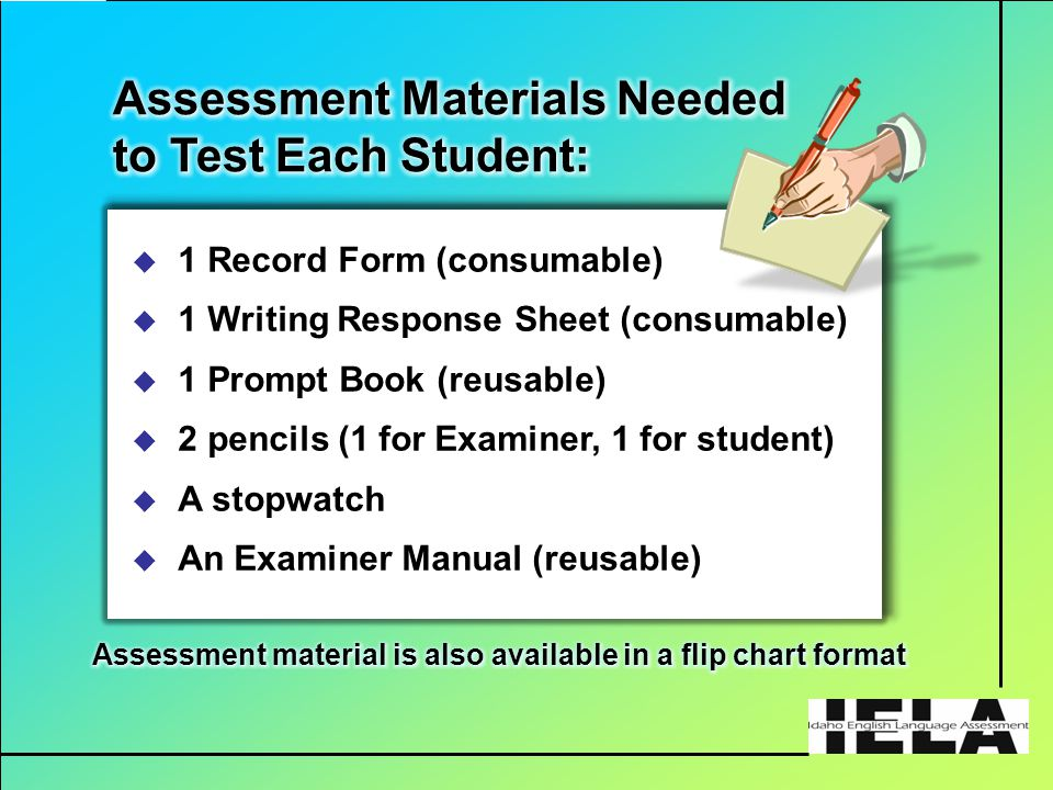  1 Record Form (consumable)  1 Writing Response Sheet (consumable)  1 Prompt Book (reusable)  2 pencils (1 for Examiner, 1 for student)  A stopwatch  An Examiner Manual (reusable)