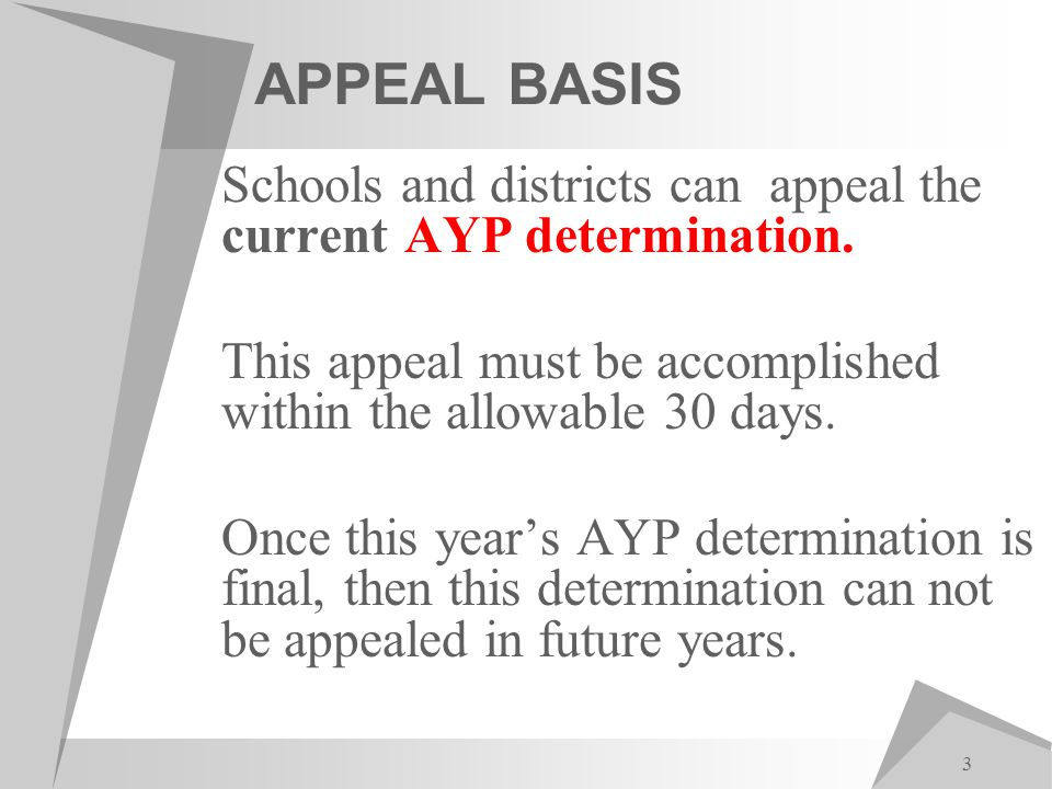 3 APPEAL BASIS Schools and districts can appeal the current AYP determination.