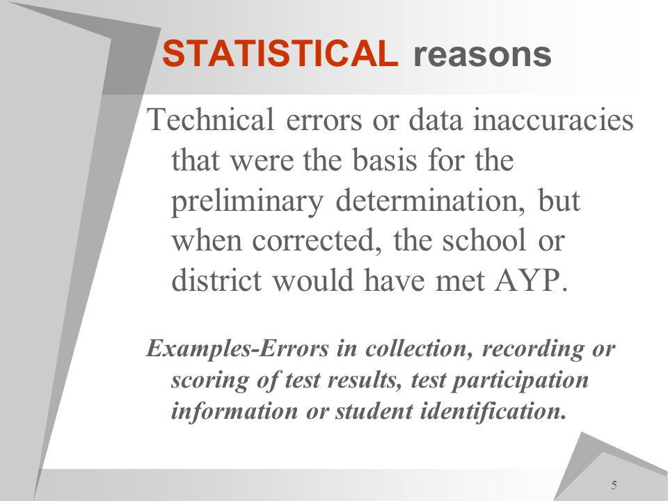 5 STATISTICAL reasons Technical errors or data inaccuracies that were the basis for the preliminary determination, but when corrected, the school or district would have met AYP.