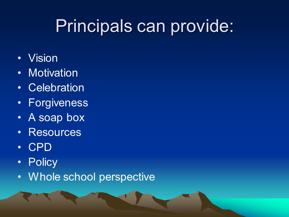 Principals can provide: Vision Motivation Celebration Forgiveness A soap box Resources CPD Policy Whole school perspective