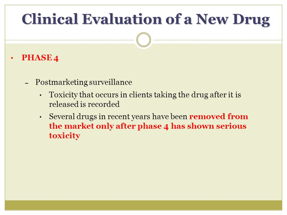 Clinical Evaluation of a New Drug PHASE 4 – Postmarketing surveillance Toxicity that occurs in clients taking the drug after it is released is recorded Several drugs in recent years have been removed from the market only after phase 4 has shown serious toxicity