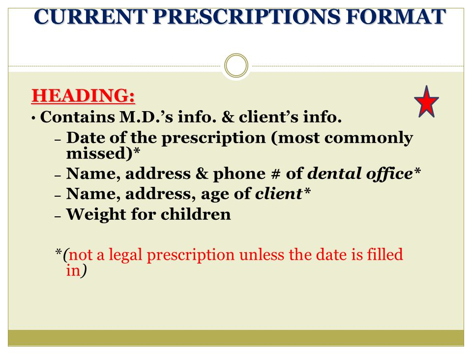 CURRENT PRESCRIPTIONS FORMAT HEADING: Contains M.D.'s info. & client's info. – Date of the prescription (most commonly missed)* – Name, address & phon
