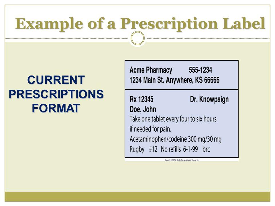 Example of a Prescription Label CURRENT PRESCRIPTIONS FORMAT