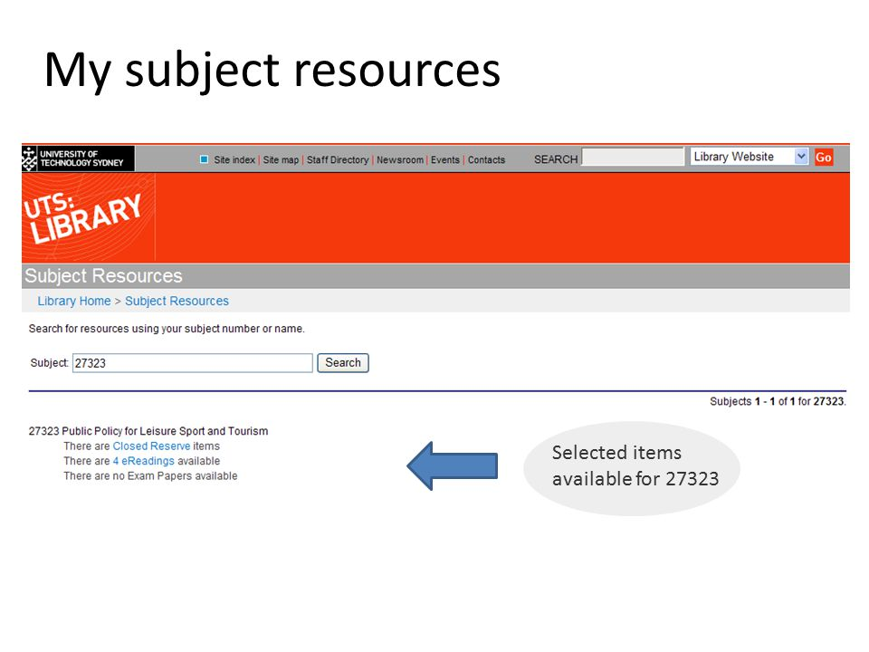 My subject resources Selected items available for 27323