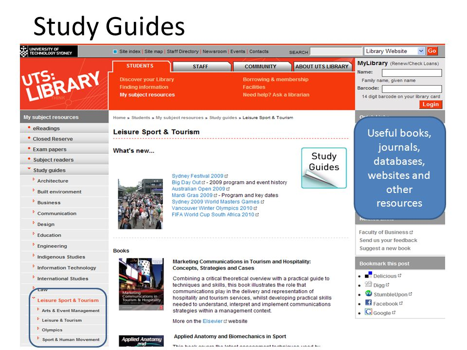 Study Guides Useful books, journals, databases, websites and other resources