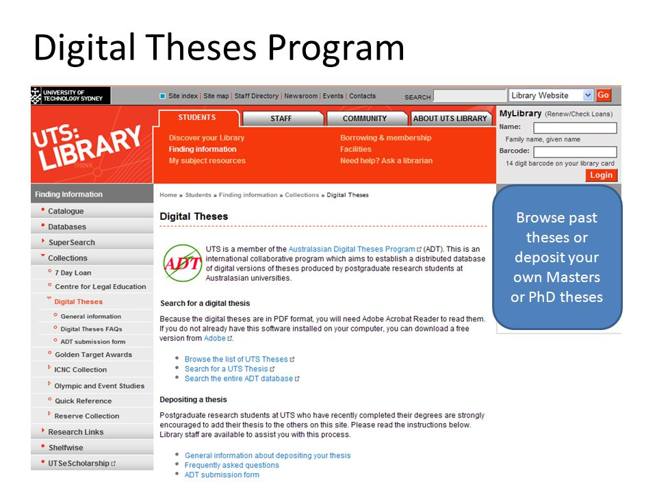 Digital Theses Program Browse past theses or deposit your own Masters or PhD theses