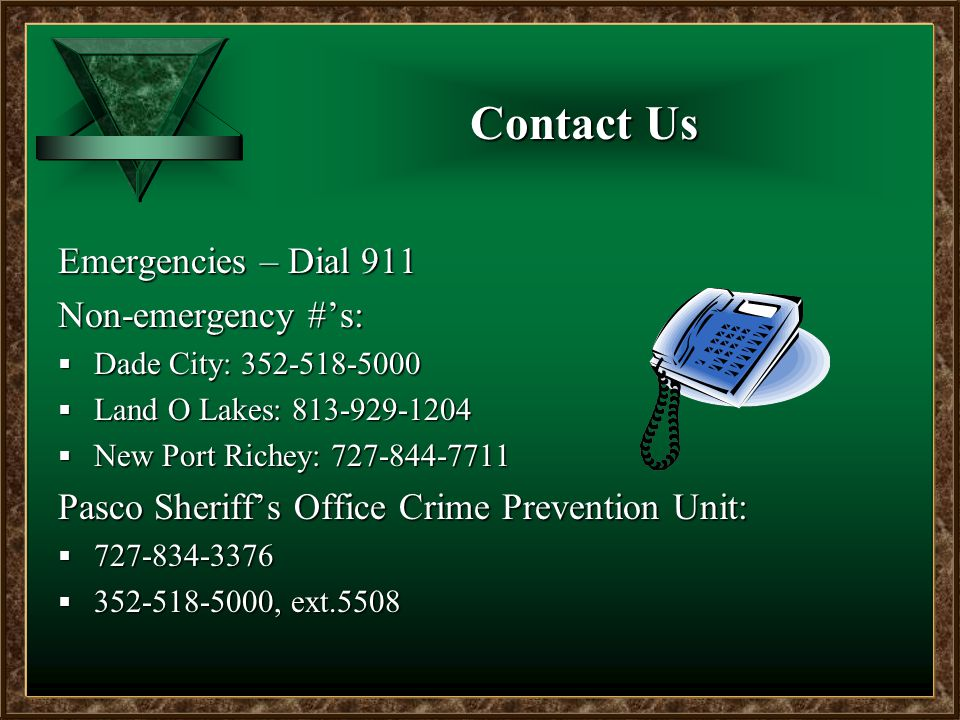 Contact Us Emergencies – Dial 911 Non-emergency #'s:  Dade City: 352-518-5000  Land O Lakes: 813-929-1204  New Port Richey: 727-844-7711 Pasco Sheriff's Office Crime Prevention Unit:  727-834-3376  352-518-5000, ext.5508