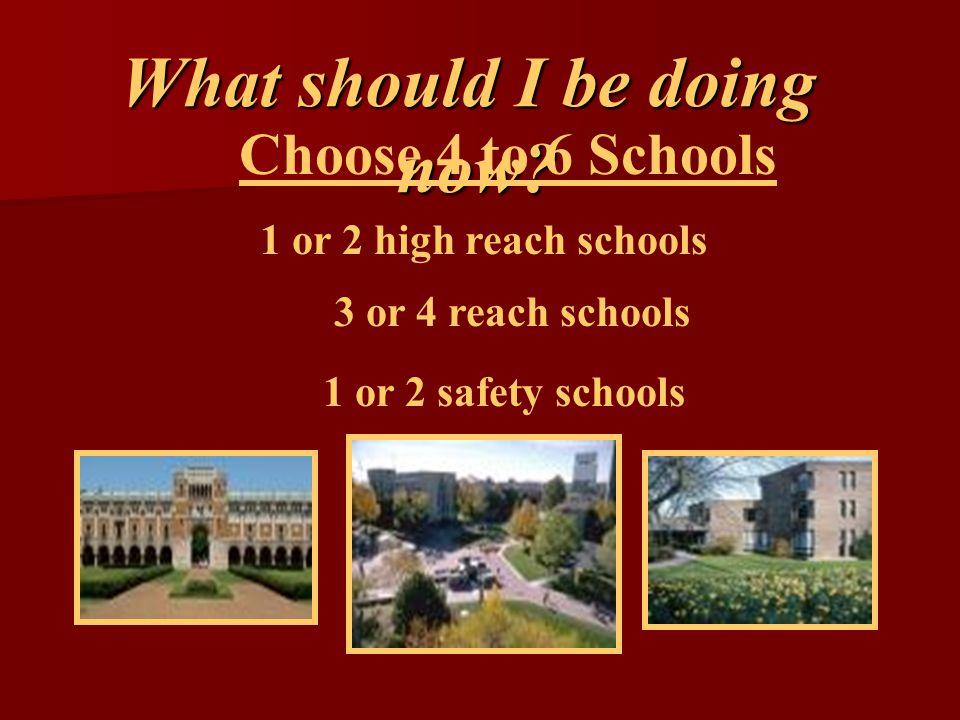 Choose 4 to 6 Schools 1 or 2 high reach schools 3 or 4 reach schools 1 or 2 safety schools