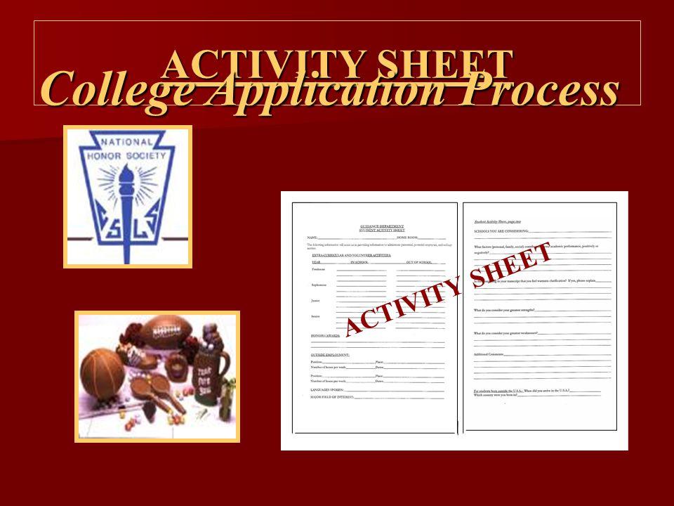 ACTIVITY SHEET College Application Process ACTIVITY SHEET