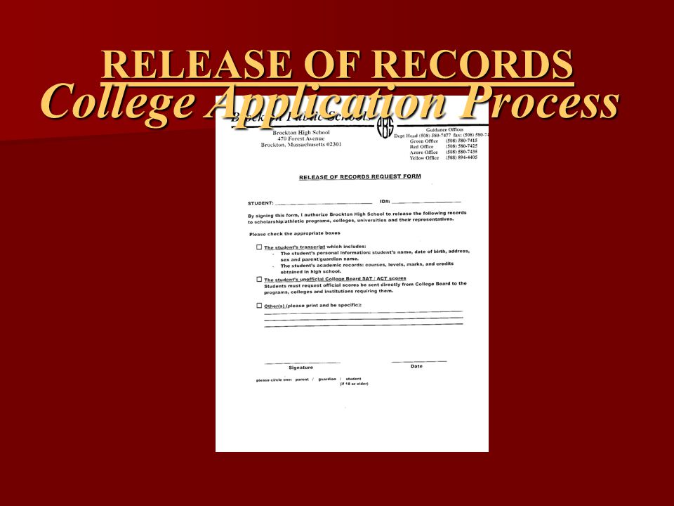 RELEASE OF RECORDS College Application Process