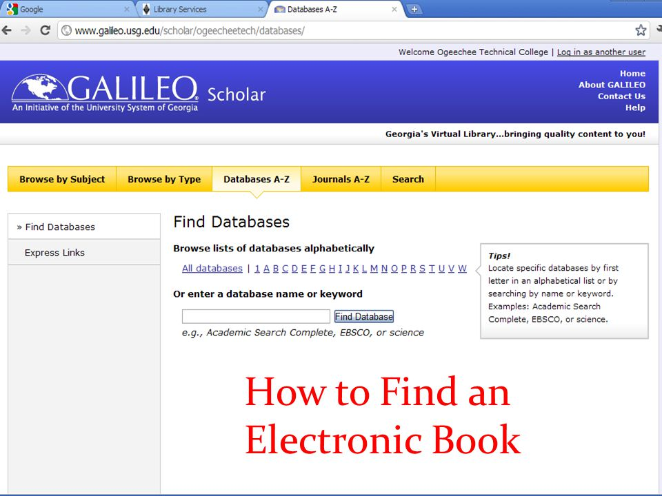 How to Find an Electronic Book