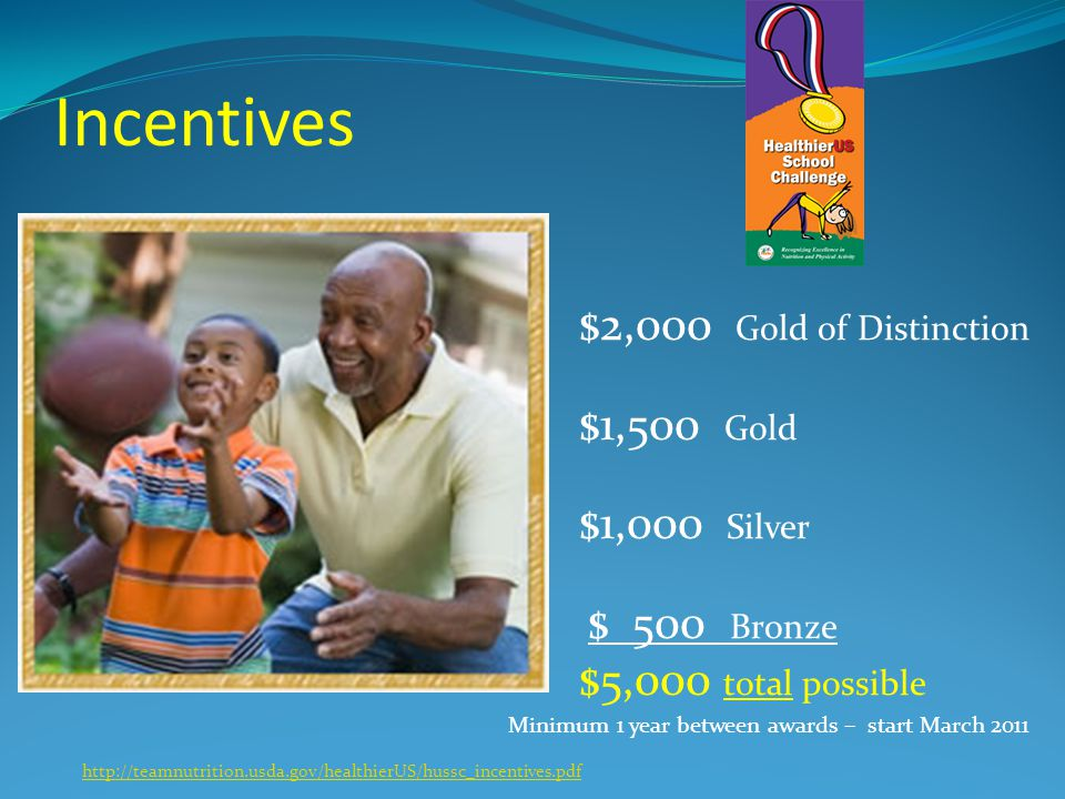 Incentives $2,000 Gold of Distinction $1,500 Gold $1,000 Silver $ 500 Bronze $5,000 total possible Minimum 1 year between awards – start March 2011 ht