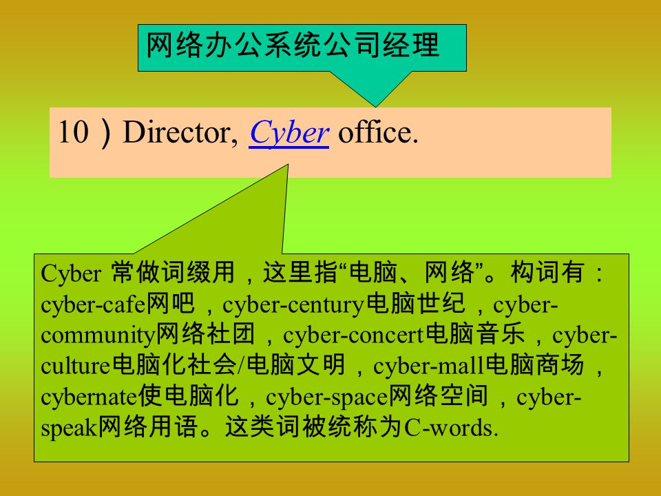 10 ) Director, Cyber office.